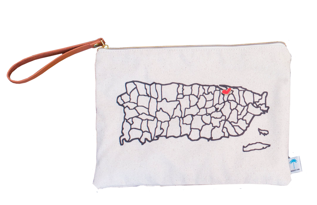 #corazonenPR large puerto rico map pouch bag