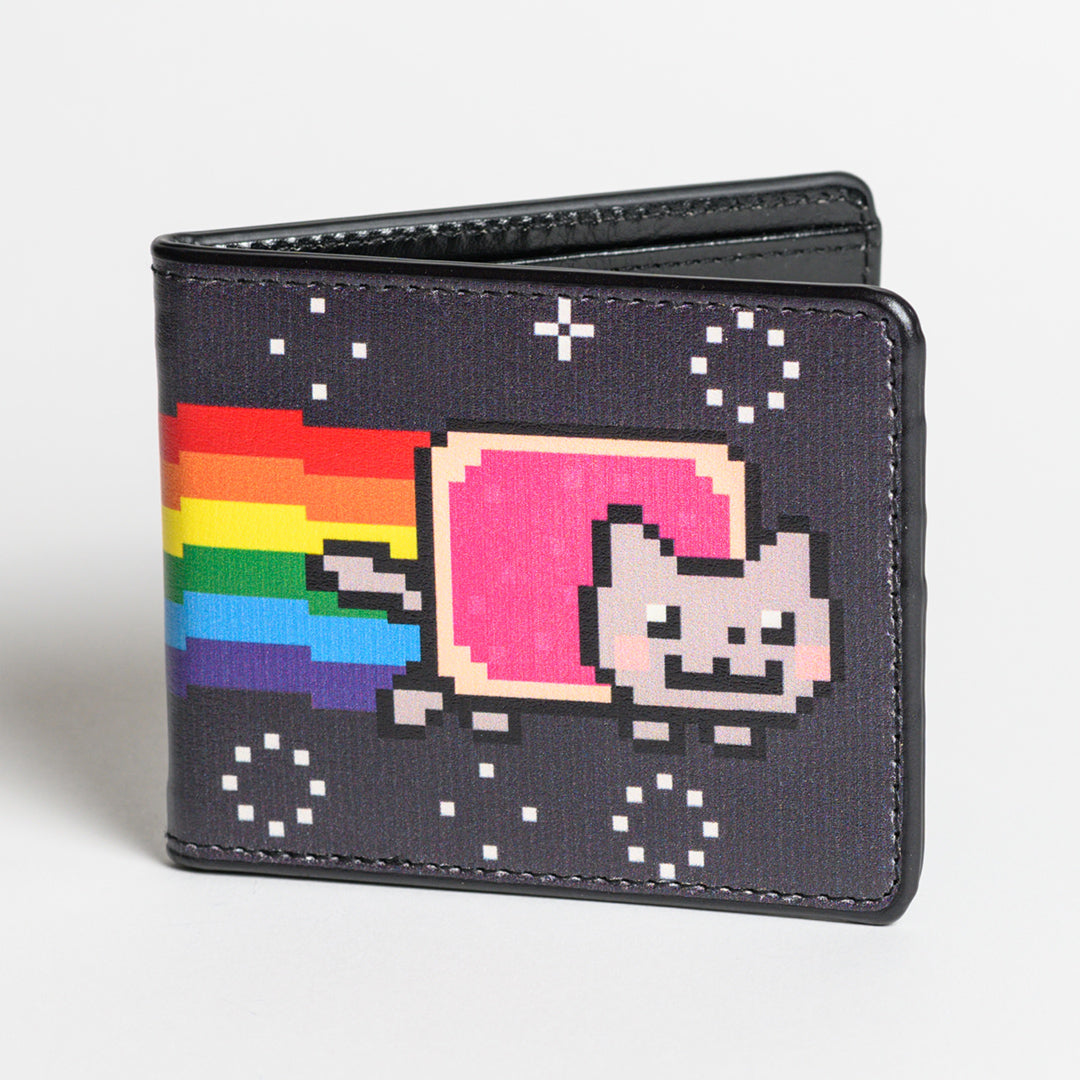 Nyan Cat Wallet - Front view of black Nyan Cat Bi-fold wallet folded