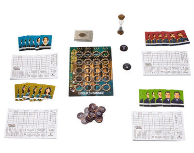 LoveLace & Babbage - Game board and game pieces of the board game, Lovelace and Babbage, based on 19th-century computing pioneers including Ada Lovelace and Charles Babbage