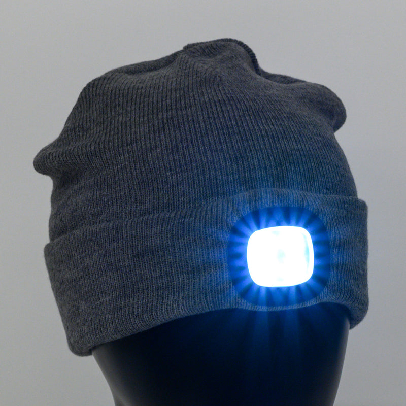 Beanie Hat with Rechargeable Light - Front view of Beanie hat with rechargeable light