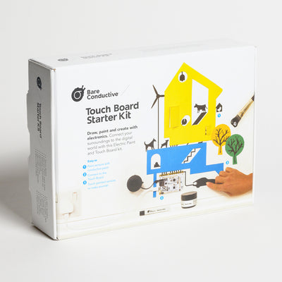"BARE Touch Board Starter Kit - Front view of Touch board Starter Kit, ""Draw, paint, and create with electronics. Connect your surroundings to the digital world"""
