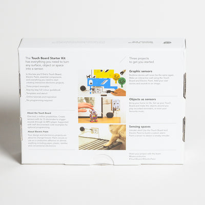 "BARE Touch Board Starter Kit - Back view of Touch board  started kit, ""includes three project examples, step by step full colour guide book, templates and stencil, online tutorials and inspiration, no programming required."