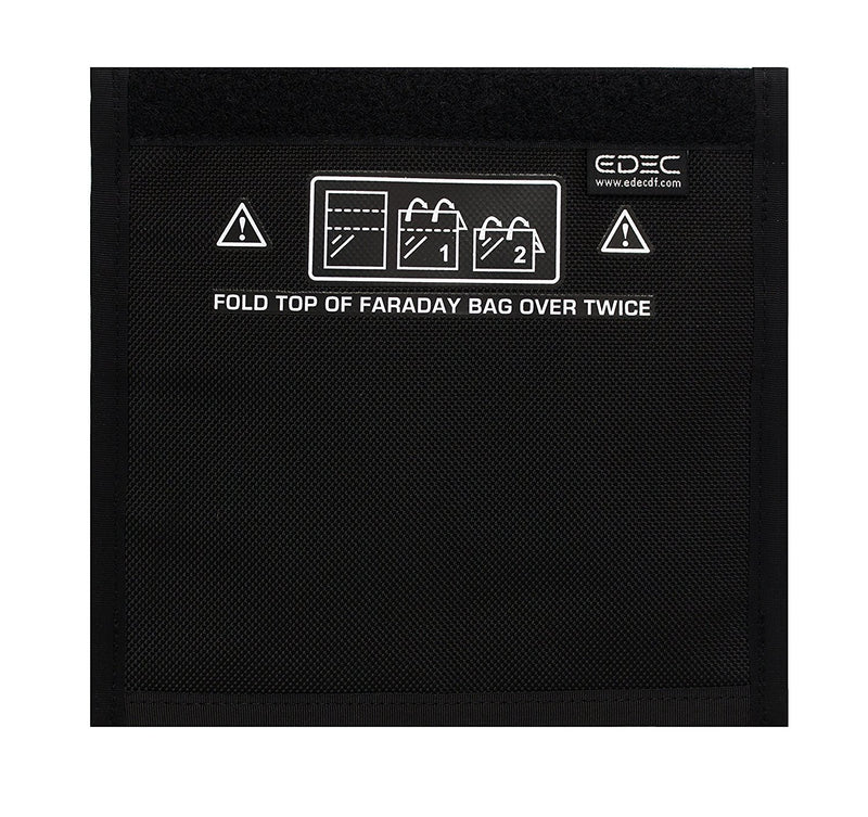 "Faraday Bag - Standard Non Window Bag - Full view fo Black Faraday Bag, "" with the highest level of military grade RFID blocking"""