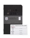 Limited Edition Clandestine Notebook Set - Front view of limited Edition Clandestine black notebook set, with Identification card