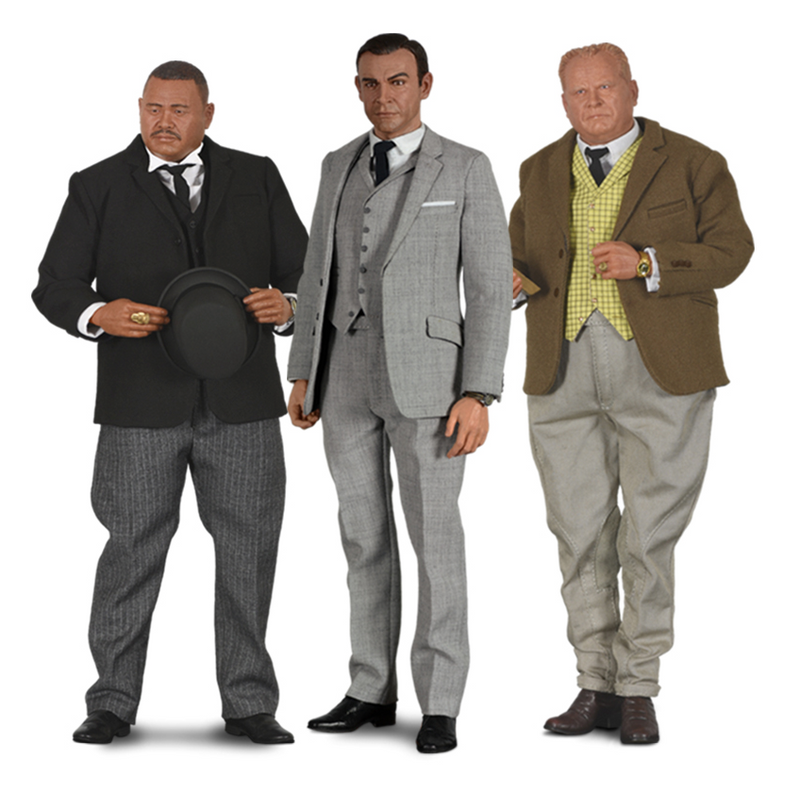 007 Goldfinger Figure Set - 007 Sixth Scale Collector Edition Figures include James Bond as Sean Connery, Auric Goldinger as Gert Frobe and Oddjob as Harold Sakata