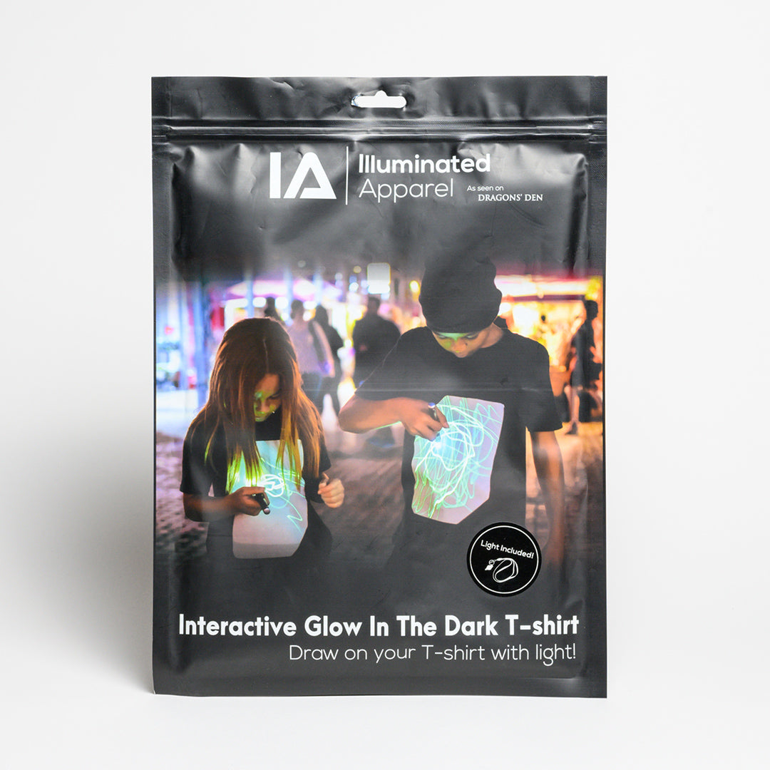 "Super Green Glow Black Kids UV T-shirt with UV Keyring - Black glow in the dark t-shirt, ""Draw on your shirt with light"""