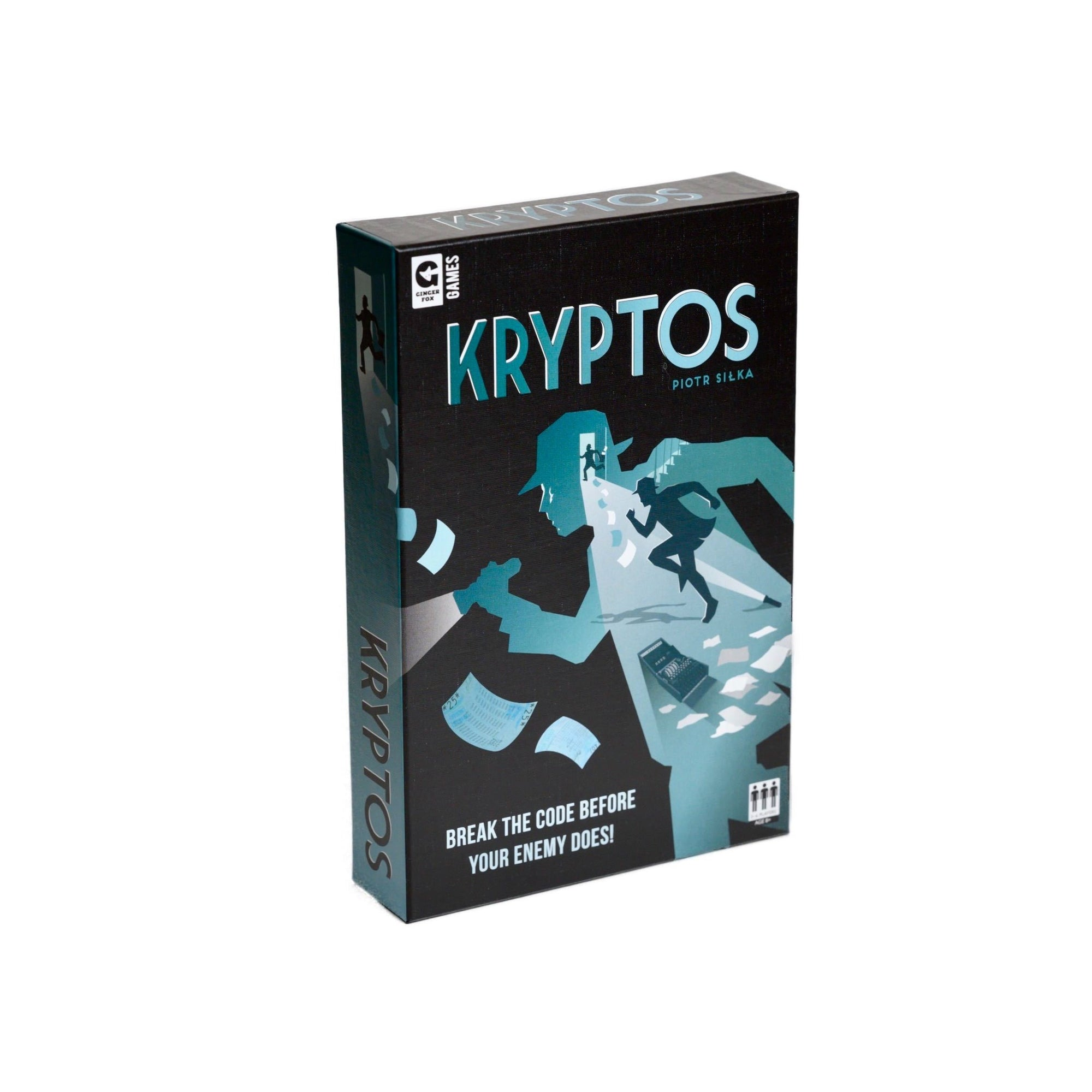 "Kryptos - Front cover view of board game Kryptos by Piotr Silka, ""Break the code before your enemy does"""