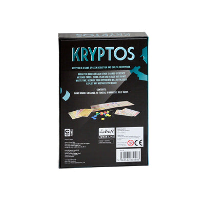"Kryptos - Back view of Kryptos board game box, ""Kryptos is a game of keen deduction and skilful decryption"""