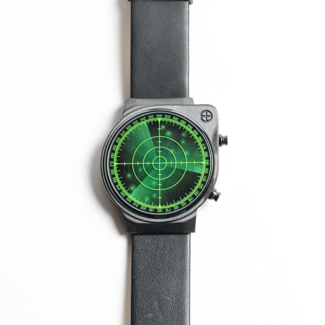 Green Radar Watch with Leather Band