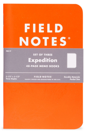 Expedition Waterproof Cover Notebooks - Front view of Orange Waterproof Notebook cover , 48 page memo book, Pocket size