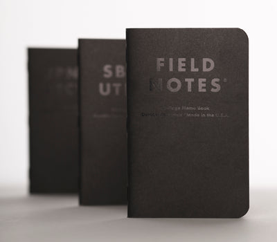 Limited Edition Clandestine Notebook Set - standing view of the three clandestine notebook set