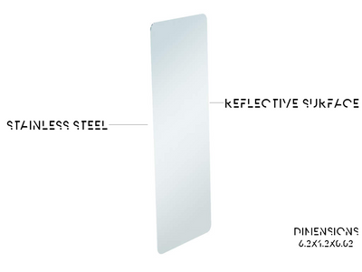 Mirror Bookmark - Out of package Mirror bookmark, Stainless steel reflective surface with dimensions of 6.2 x 1.2 x 0.02