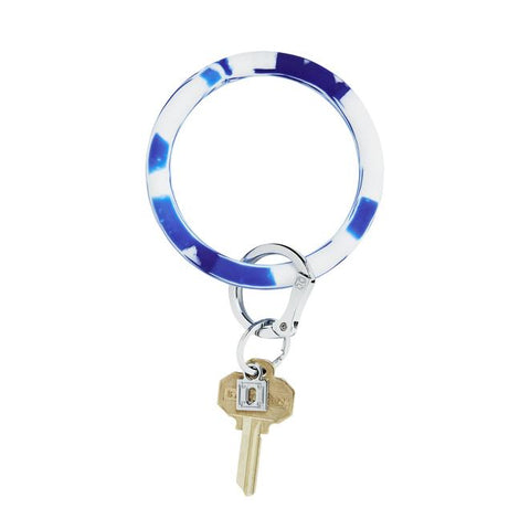 BIG O KEY RING-SILICONE-BLUE ME AWAY  MARBLE