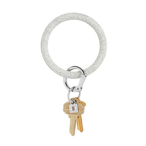 BIG O KEY RING-SILICONE-SILVER CONFETTI