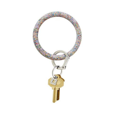 BIG O KEY RING-SILICONE-RAINBOW CONFETTI