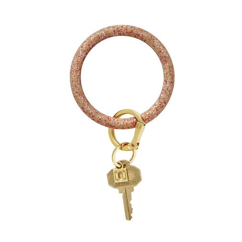 BIG O KEY RING-SILICONE-RED HOT CONFETTI