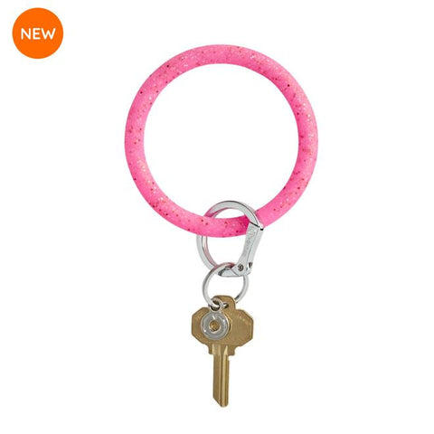 BIG O KEY RING-SILICONE-TICKLED PINK CONFETTI