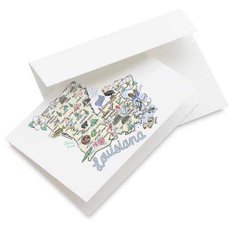 LOUISIANA MAP GREETING CARD SINGLE