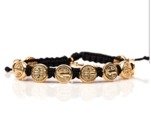 GOLD BENEDICTINE BLESSING BRACELET -BLACK