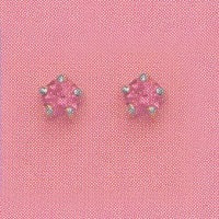 SILVER PRONG OCTOBER (PINK) EAR PIERCING STUD 3MM, FOR SENSTIVE EARS. SURGICAL STAINLESS STEEL. NICKEL & ALLERGY FREE.