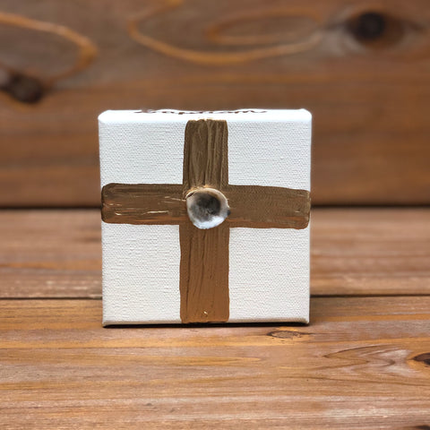 4X4 CANVAS SHELL GOLD Confirmation CROSS/CREAM