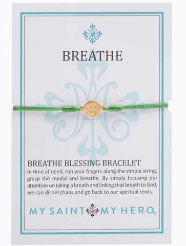 BREATHE- BRACELET - GOLD WITH GREEN