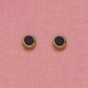 SINGLE GOLD BEZEL JANUARY (RED) EAR PIERCING STUD 3MM, FOR SENSITVE EARS. SURGICAL STAINLESS STEEL. NICKEL & ALLERGY FREE.
