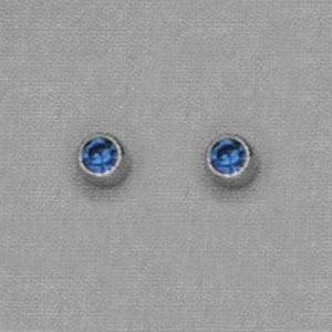 SINGLE SILVER BEZEL SEPTEMBER (BLUE) EAR PIERCING STUD 3MM, FOR SENSITVE EARS. SURGICAL STAINLESS STEEL. NICKEL & ALLERGY FREE.