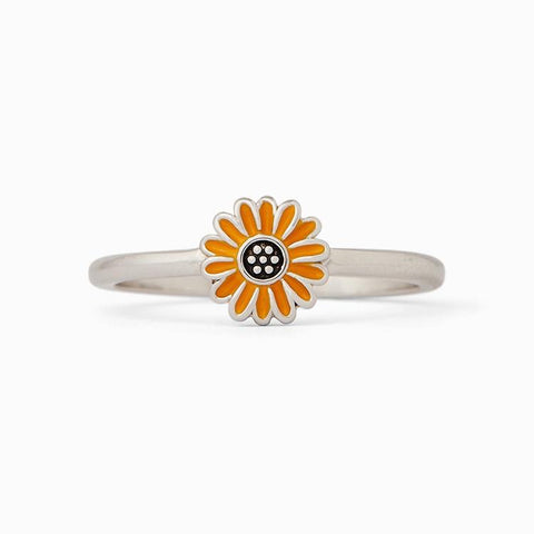 RINGS-ENAMEL SUNFLOWER SILVER