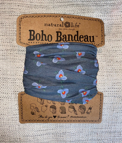 Grey Blue Flowers Boho Bandeau®
