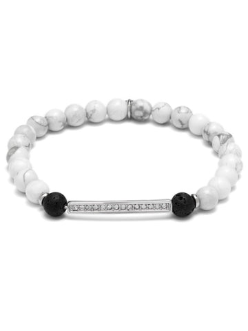 PAVE PEACE ESSENTIAL OIL BRACELET WHITE HOWLITE/RHODIUM PLATED