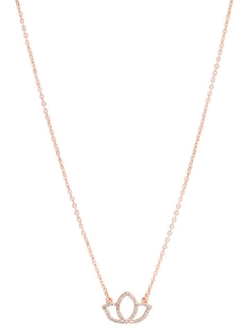 "KARMA DAINTY LOTUS NECKLACE-CZ/ROSE GOLD 16""W3""EXTENDER"