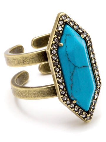 LUNA SPEAR RING-TURQUOISE HOWLITE,ADJUSTABLE