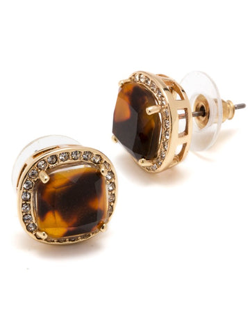 "PAVE LUXE STUD TORTOISESHELL GOLD 1/2"" SURGICAL STEEL POST"