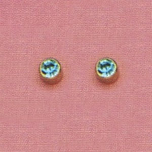 SINGLE GOLD BEZEL MARCH (LIGHT BLUE) EAR PIERCING STUD 3MM, FOR SENSITVE EARS. SURGICAL STAINLESS STEEL. NICKEL & ALLERGY FREE.
