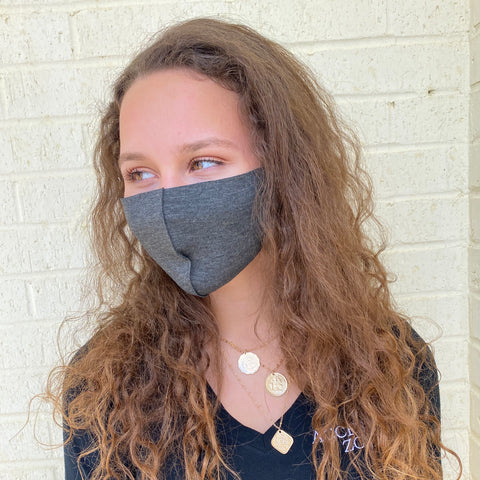 FACE MASK W ADJUSTABLE STRAP-HEATHER GREY