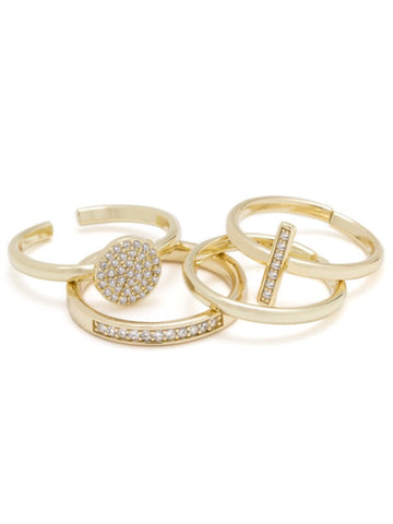 PAVE PEACE RING PACK-GOLD CZ/14K, ADJUSTABLE