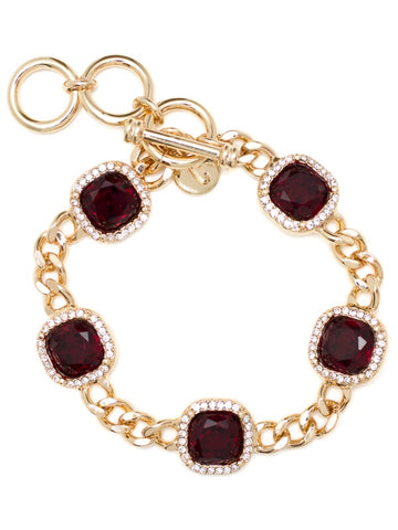 "PAVE LUXE BRACELET RED/GOLD 7"",7 1/2"",8"""
