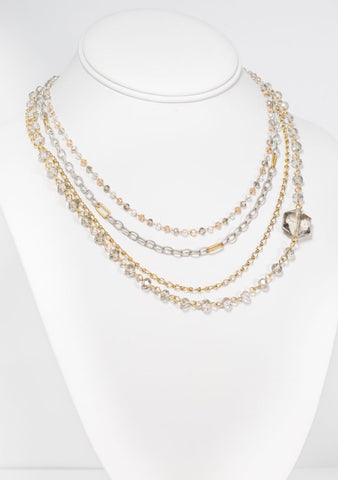 "MARIE KATHERINE-NECKLACE 16-8"" CRYSTAL HEXAGON"
