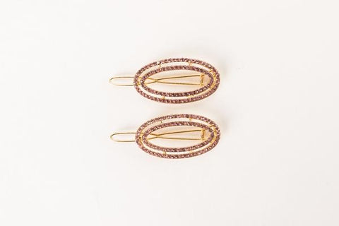 BARRETTE-PENNY PAVE SET-GOLD/PINK
