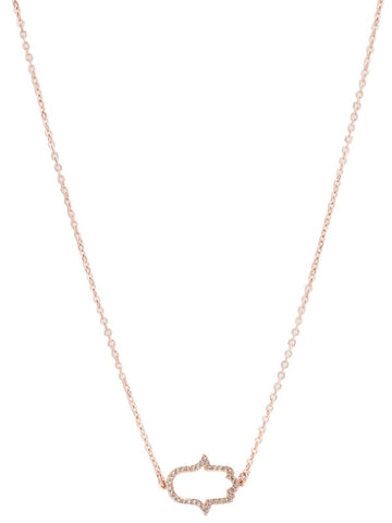 "KARMA DAINTY HAMSA NECKLACE-CZ/14K ROSE GOLD 16""W3""EXTENDER"