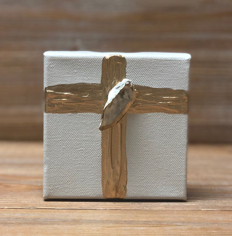 4X4 CANVAS SHELL GOLD CROSS/LT TAUPE