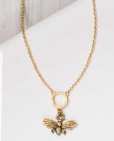 "MARIE KATHERINE-NECKLACE 16""TINY 12MM BEE"