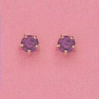 GOLD PRONG FEBRUARY (PURPLE) EAR PIERCING STUD 3MM, FOR SENSITVE EARS. SURGICAL STAINLESS STEEL. NICKEL & ALLERGY FREE.