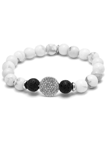 HARMONY DISC ESSENTIAL OIL BRACELET WHITE HOWLITE/RHODIUM PLATED