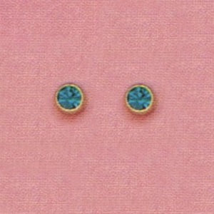 SINGLE GOLD BEZEL DECEMBER (TEAL) EAR PIERCING STUD 3MM, FOR SENSITVE EARS. SURGICAL STAINLESS STEEL. NICKEL & ALLERGY FREE.