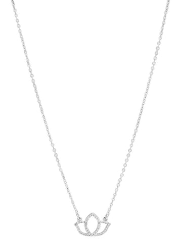"KARMA DAINTY LOTUS NECKLACE-CZ/RHODIUM 16""W3""EXTENDER"