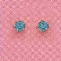 SIVLER PRONG DECEMBER (TEAL) EAR PIERCING STUD 3MM, FOR SENSITIVE EARS. SURGICAL STAINLESS STEEL. NICKEL & ALLERGY FREE.