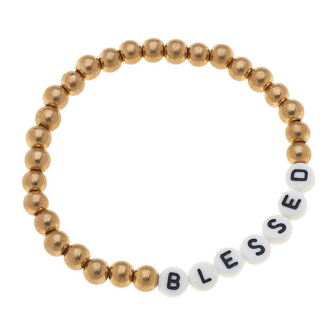BRACELET-BLOCKED LETTER BALL GOLD STRETCH-BLESSED