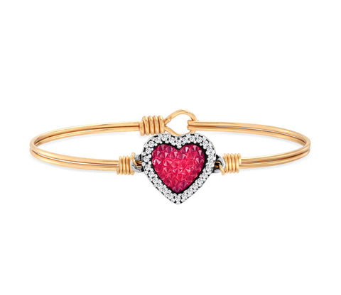 HEART BANGLE W RED CRYSTAL ROCKS BRASS